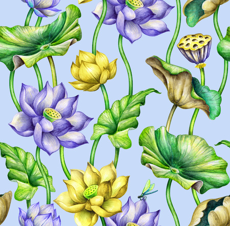 seamless botanical pattern, watercolor floral background, blue and yellow lotus flowers, fashion textile design, tropical leaves, oriental garden nature Stock Photo