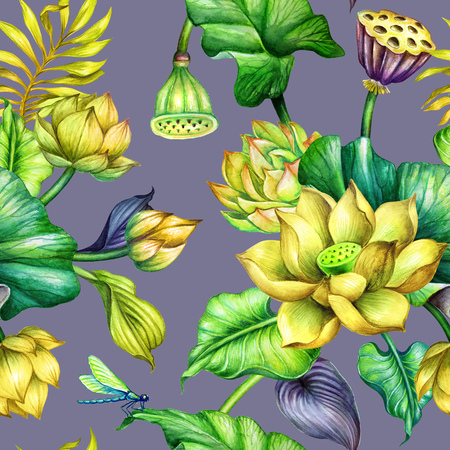 watercolor botanical background, seamless floral pattern, tropical leaves, yellow lotus flowers, fashion textile design, oriental garden nature