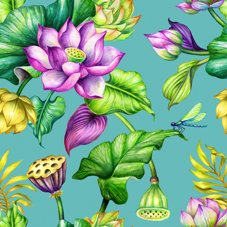 seamless botanical pattern, watercolor repeating floral background, pink and yellow lotus flowers, tropical leaves, fashion textile design, oriental garden nature