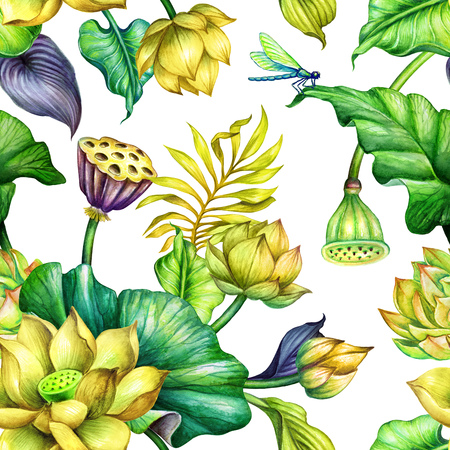 watercolor floral background, seamless botanical pattern, tropical leaves, yellow lotus flowers, fashion textile design, oriental garden nature