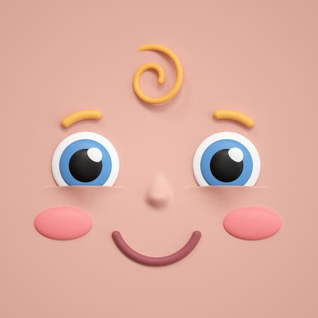 3d rendering, smiling face icon, baby shower, smile, excited, happy, amazed, toddler, infant, emotional facial expression, emoji icon, cartoon character