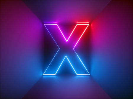 3d render, glowing letters, lines, neon lights, virtual reality, night club, abstract psychedelic background, ultraviolet, adult sign, red blue vibrant colors