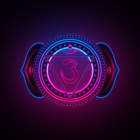 3d render, sacred geometry, indigo Ajna third eye chakra symbol, neon light abstract background, spiritual chackra symbol, religious sign, esoteric mandala, modern illustration Banque d'images