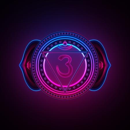 3d render, sacred geometry, indigo Ajna third eye chakra symbol, neon light abstract background, spiritual chackra symbol, religious sign, esoteric mandala, modern illustration Stock Photo