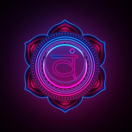 3d render, sacred geometry, Swadhisthana chakra symbol, neon light abstract background, spiritual chackra symbol, religious sign, esoteric mandala, modern illustration