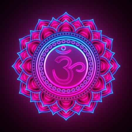 3d render, sacred geometry, Sahasrara chackra symbol, neon light abstract background, spiritual chakra symbol, religious sign, esoteric mandala, modern illustration Stock Photo