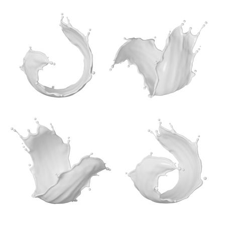 3d render, milk splash, wave, white liquid splashing clip art, drink, cosmetics moisturizer lotion, cream, isolated design elements, cooking ingredients macro