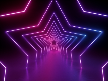 3d render, ultraviolet neon star shape, glowing lines, portal, tunnel, virtual reality, abstract fashion background, violet neon lights, arch, pink blue spectrum vibrant colors, laser show