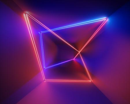 Render 3D, ultravioleta, infrarrojo, líneas de neón, espectáculo de láser, luces interiores de clubes nocturnos, formas brillantes de colores, fondo fluorescente abstracto, realidad virtual, espectro psicodélico