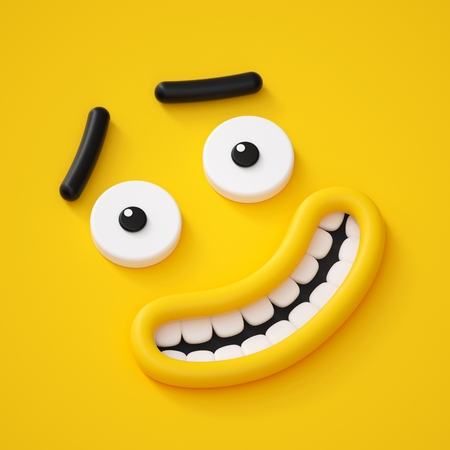 3d render, cute childish face, smile, amazed emotion, emoji, emoticon, funny monster Stock Photo