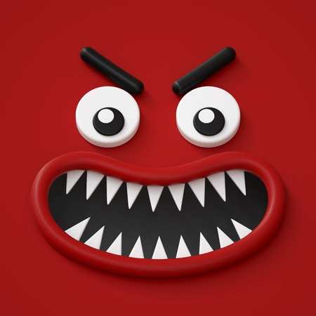 3d render, abstract red emotional face icon, angry character going mad illustration, cute cartoon monster, emoji, emoticon, toy, wild anger