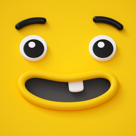 3d render, cute childish face, toothless smile, amazed emotion, emoji, emoticon, funny yellow monster