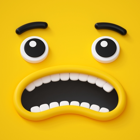 3d render, abstract emotional face icon, panic, scared character illustration, cute cartoon monster, emoji, emoticon, toy
