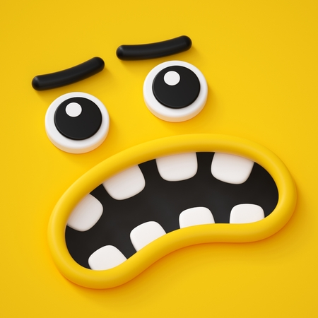 3d render, abstract emotional face icon, scared character illustration, cute cartoon monster, emoji, emoticon, toy, angry mask