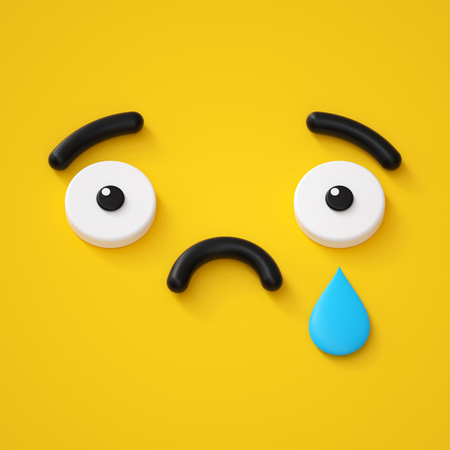 3d render, abstract emotional sad face icon, tears, sorrow, disappointed character illustration, cute cartoon monster, emoji, emoticon, toy Reklamní fotografie - 108798690