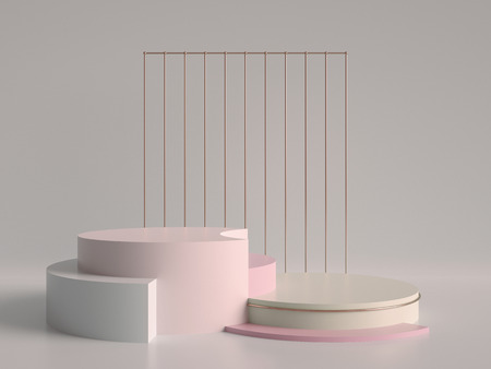 3d render, abstract geometric background, minimalistic primitive shapes, modern mock up, cylinder podium, blank template, rose gold metal grid, empty showcase, shop display, pastel pink colors
