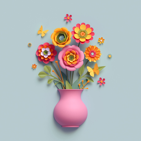 3d render, craft paper flowers, pink vase, floral bouquet, autumn botanical arrangement, fall colors, nature clip art isolated on light blue background, thanksgiving greeting card template