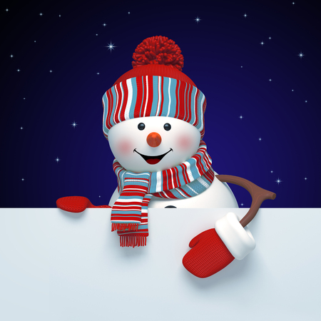 3d render, digital illustration, happy snowman, starry night, blank banner, holding page, midnight, Merry Christmas greeting card, New Year symbol, winter holiday background