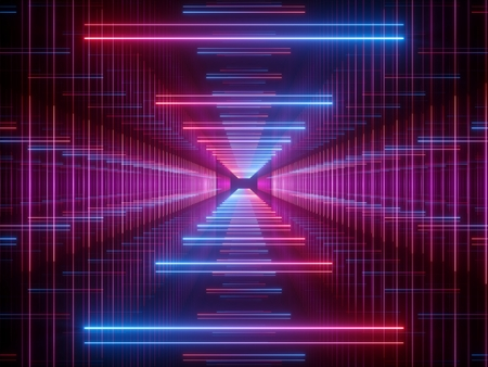 3d render, glowing lines, neon lights, abstract psychedelic background, corridor, tunnel, ultraviolet, spectrum vibrant colors, laser show Standard-Bild