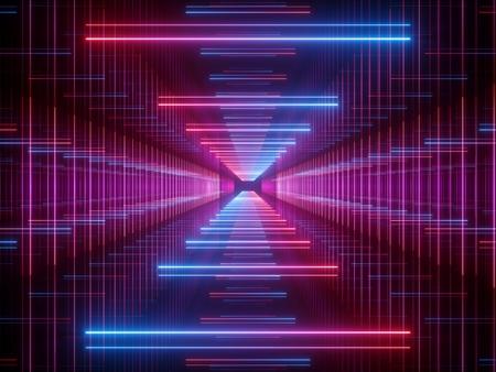 Render 3D, líneas brillantes, luces de neón, fondo psicodélico abstracto, corredor, túnel, ultravioleta, espectro de colores vibrantes, espectáculo de láser