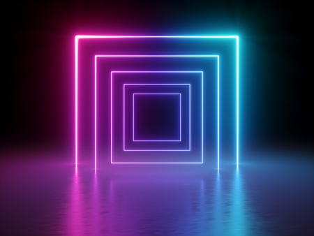 3d render, glowing lines, tunnel, neon lights, virtual reality, abstract background, square portal, arch, pink blue spectrum vibrant colors, laser show Stok Fotoğraf - 109610288
