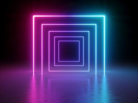 Render 3D, líneas brillantes, túnel, luces de neón, realidad virtual, fondo abstracto, portal cuadrado, arco, espectro azul rosado, colores vibrantes, espectáculo de láser
