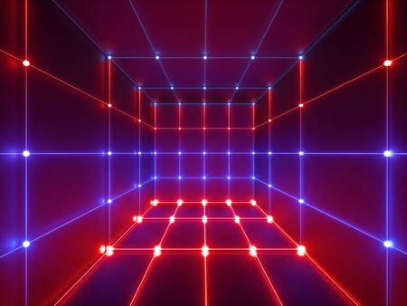 3d render, glowing lines, neon lights, abstract psychedelic background, cube cage, ultraviolet, infrared, spectrum vibrant colors, laser show Stock Photo