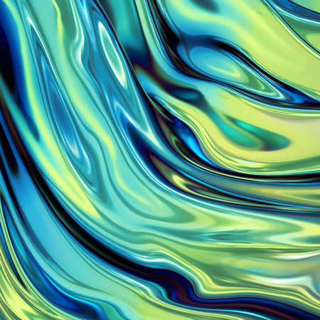 3d render, abstract background, green holographic foil, iridescent wavy glass, cosmic texture, ripples, liquid surface, metallic reflection, esoteric aura. For creative projects: cover, fashion, web