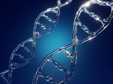 Rendu 3D, spirale d'ADN, chaîne, microbiologie, biotechnologie, édition du génome, fond scientifique abstrait, verre, texture de l'eau liquide