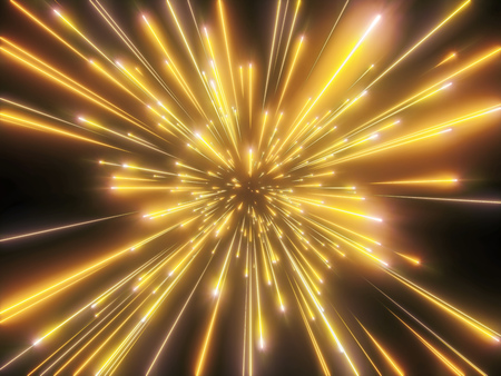 3d render, big bang, gold fireworks, galaxy, abstract cosmic background, celestial, beauty of universe, speed of light, neon glow, stars, cosmos, ultraviolet infrared light, outer space
