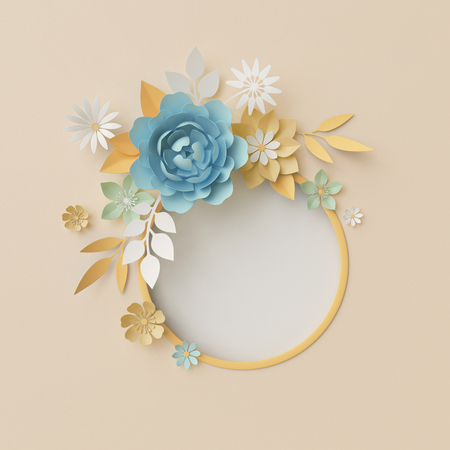 3d render, botanical background, pastel paper craft flowers, floral wreath, nursery wall decor, baby blue, round frame, blank banner, copy space, rose, peony, daisy, leaves Stock Photo