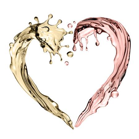 3d render, digital illustration, abstract champagne wave, heart shape, liquid splashing set, design elements isolated on white background Stok Fotoğraf - 109610449