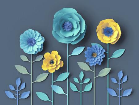 3d 렌더링, 민트 파란색 노란색 종이 꽃, 식물 벽지, 봄 여름 배경, 플로랄 디자인 요소, 장미, 데이지, 달리아