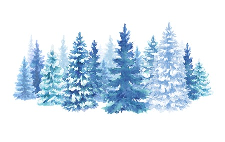 watercolor snowy forest illustration, Christmas fir trees, winter nature, conifer, holiday background, rural landscape, outdoor scene, isolated on white background Stok Fotoğraf - 112587044