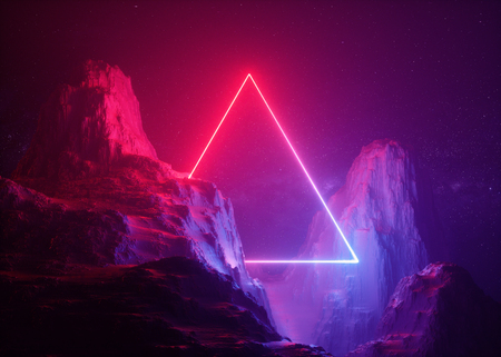 3D-Rendering, abstrakter Hintergrund, kosmische Landschaft, dreieckiges Portal, rosa blaues Neonlicht, virtuelle Realität, Energiequelle, leuchtendes Quad, dunkler Raum, ultraviolettes Spektrum, Laserdreieck, Felsen, Boden