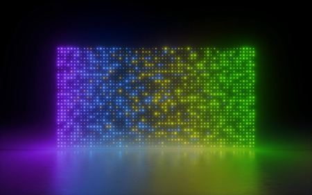 3d render, abstract background, glowing dots, rainbow screen pixels, neon lights, virtual reality, gradient spectrum, vibrant colors, fashion podium, laser show, isolated on black, floor reflection