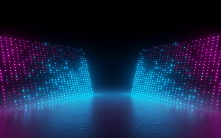 3d render, abstract background, screen pixels, glowing dots, neon lights, virtual reality, ultraviolet spectrum, pink blue vibrant colors, catwalk fashion podium, laser show, stage, isolated on black Фото со стока