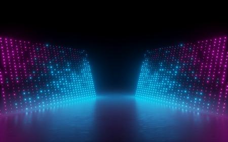 Render 3D, fondo abstracto, píxeles de pantalla, puntos brillantes, luces de neón, realidad virtual, espectro ultravioleta, colores vibrantes azules rosados, podio de pasarela de moda, espectáculo de láser, escenario, aislado en negro