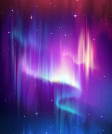 Aurora Borealis abstract background, northern lights in polar night sky illustration, natural phenomenon, cosmic miracle, wonder, neon glowing lines, ultraviolet spectrum Banco de Imagens