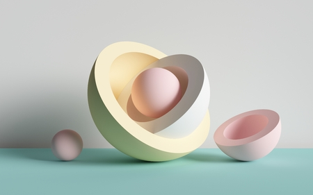3d render, abstract background, ball, primitive geometric shapes, pastel color palette, simple mockup, minimal design elements 写真素材