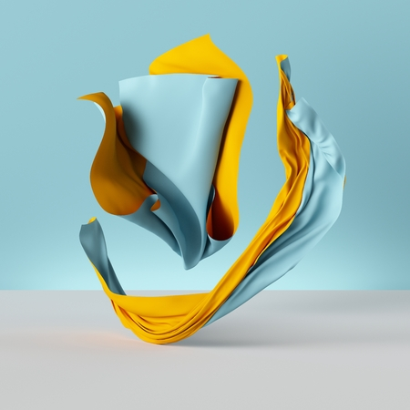 3d render, folded cloth, yellow drapery isolated on blue background, textile, fabric, curtain, abstract fashion wallpaper 스톡 콘텐츠