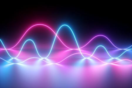 3D-Rendering, Neonlicht, Lasershow, Impuls, Diagramm, ultraviolettes Spektrum, Pulsstromleitungen, Quantenenergie, rosa blau-violett leuchtende dynamische Linie, abstrakter Hintergrund, Reflexion