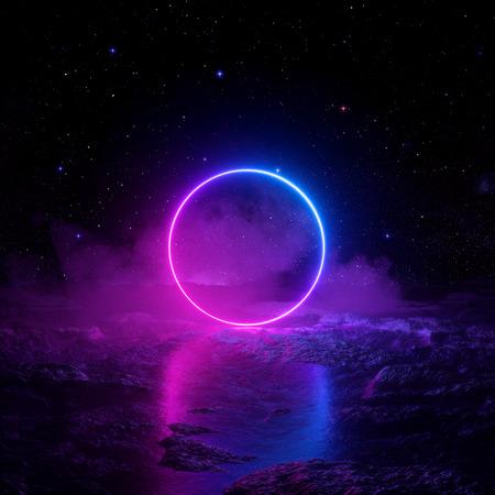 3D-Rendering, abstrakter Hintergrund, kosmische Landschaft, rundes Portal, rosa blaues Neonlicht, virtuelle Realität, Energiequelle, leuchtender runder Rahmen, dunkler Raum, ultraviolettes Spektrum, Laserring, Nebel, Boden Standard-Bild