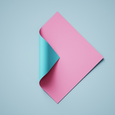 3d render, pink blue abstract paper background, page curl, curled corner, creative modern banner mockup, design element