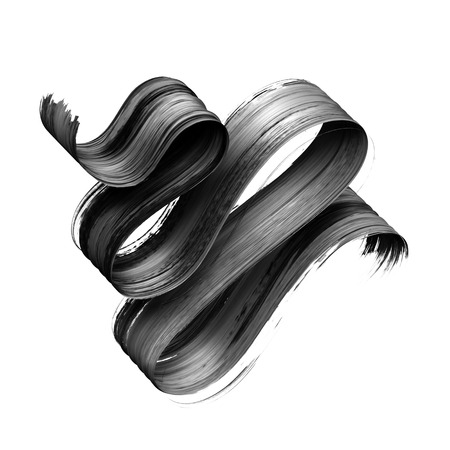 3d render, abstract black brush stroke, creative ink smear, paint texture, wavy ribbon, design element isolated on white background Banco de Imagens - 119570173