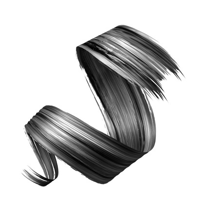 3d render, abstract black brush stroke, creative ink smear, paint texture, spiral ribbon, design element isolated on white background