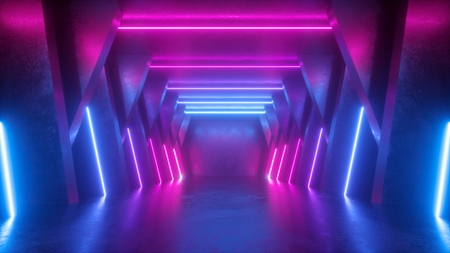 3d render, neon abstract background, empty room, tunnel, corridor, glowing lines, geometric, ultraviolet light Imagens