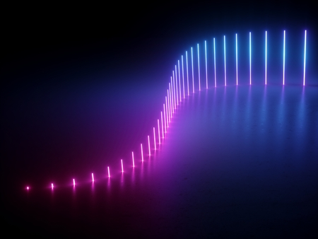 3d, pink blue neon lights, abstract background, wave, equalizer, vibrant colors, glowing lines Imagens