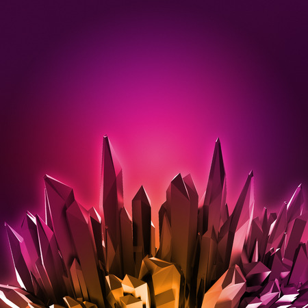 3d ruby red crystals background, pink neon crystallized object, abstract creative wallpaper Stock Photo