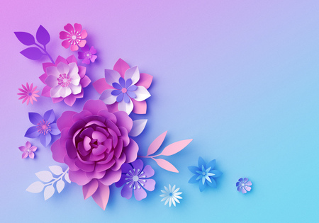 3d render, botanical neon background, pink blue paper flowers, pastel color floral wallpaper, isolated corner design element, clip art, greeting card template, space for text